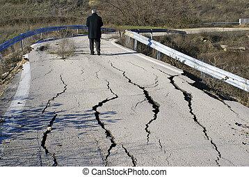 割れた, 後で, 地震, アスファルト, closed-up