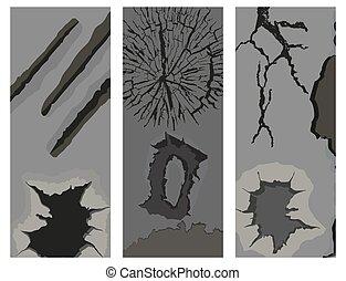 割れる, グランジ, illustration., 壁, 多数, 抽象的, パチパチという音, 穴, パンフレット, ベクトル, かく, ほこり, 荒い
