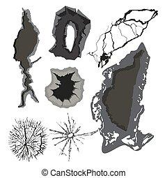 割れる, グランジ, illustration., 壁, 多数, 抽象的, パチパチという音, 穴, 手ざわり, ベクトル, かく, ほこり, 荒い