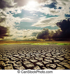 割れる, 太陽, 上に, 暑い, 地球, 干ばつ