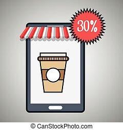 割引, コーヒー, smartphone, カップ