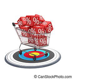 割引, 買い物, ターゲット, カート