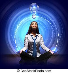創造性, ライト, cocept, 電球