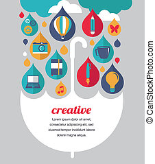 創造性, 傘, -, 想法, 以及, 設計, 概念