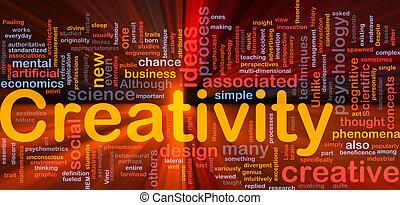 創造性, 創造性, 背景, 概念, 發光