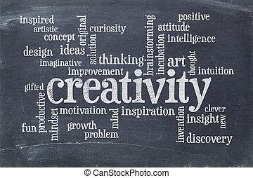 創造性, 単語, 雲, 上に, 黒板