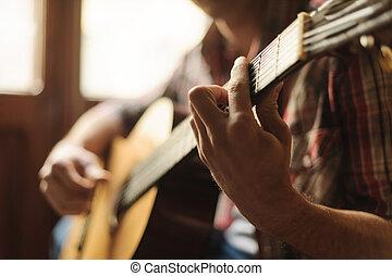 創造性, 在, 焦點。, 特寫鏡頭, ......的, 人, 玩, 聲學的六弦琴