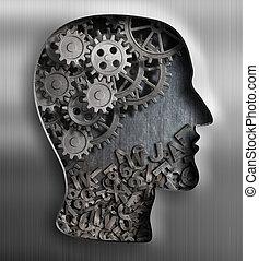 創造性, 心理学, 金属, concept., 言語, 考え, brain.