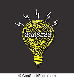 創造性, 成功, 燈泡, 詞