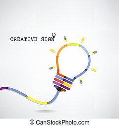 創造性, 燈泡, 想法, 概念, 背景