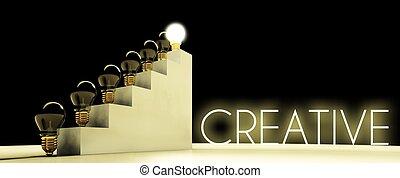 創造性, 燈泡, 概念, 黑的背景