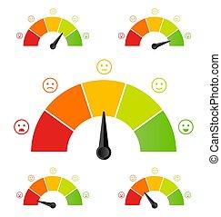創造性, 矢量, 插圖, ......的, 規定值, 客戶滿意度, meter., 不同, 感情, 藝術, 設計, 從, 紅色, 到, green., 抽象 概念, 圖表, 元素, ......的, 車頭表, 里程計, 指示器, 得分
