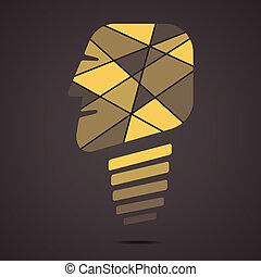 創造性, 臉, 燈泡