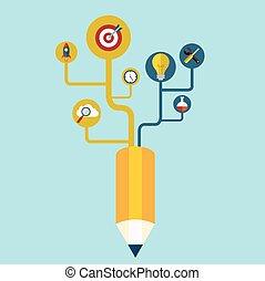 創造性, 鉛筆, 概念, 成長, 樹, 想法, 矢量, 插圖, 現代, 樣板, 設計