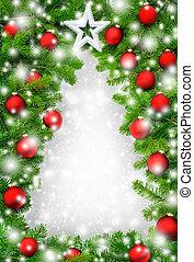 創造的, クリスマスツリー, ボーダー