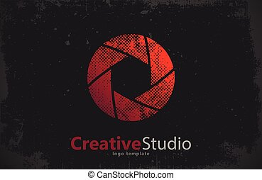 創造的, シャッター, カメラ, スタジオ, ロゴ, logo., design.