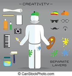 創造的, セット, の, 芸術家