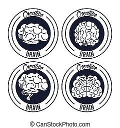 創造的, セット, 円, 脳, スタンプ, シール