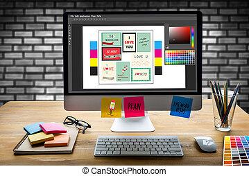 創造的, デザイナー, グラフィック, ∥において∥, work., カラー材料見本, サンプル, イラストレーター, グラフィックデザイナー, 仕事, デジタルタブレット, そして, コンピュータ