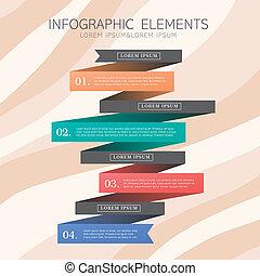 創造的, デザイン, リボン, infographics