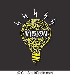創造的, ビジョン, 電球, スケッチ, 単語