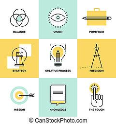 創造的, プロセス, デザイン, 平らなライン, アイコン