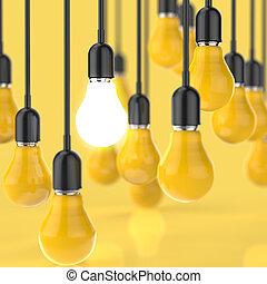 創造的, リーダーシップ, 電球, ライト, 考え, 概念