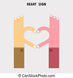 創造的, 手の 印, そして, 心, 抽象的, ベクトル, ロゴ, design., 手, 中心の 形, symbol.teamwork, そして, ビジネス, 創造的, logotype, concept.