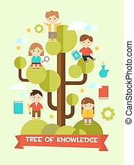 創造的, 教育, 概念, 平ら, デザイン