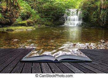 創造的, 概念, イメージ, の, 流れること, 森林, 滝, 出て来ること, の, ページ, 中に, 魔法, 本