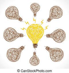 創造的, 白熱, 電球, 考え, 概念