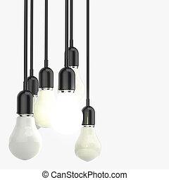 創造的, 考え, そして, リーダーシップ, 概念, 電球, 上に, 灰色, 背景