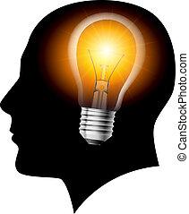 創造的, 考え, 電球, ライト, 概念
