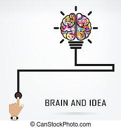 創造的, 脳, 電球, ライト, 考え, 概念