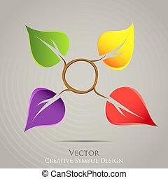 創造的, 自然, 紋章, ベクトル, icon., カラフルである, デザイン