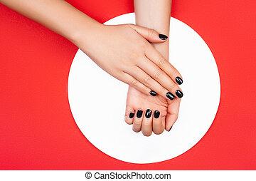 創造的, 赤い黒字, 背景, マニキュア