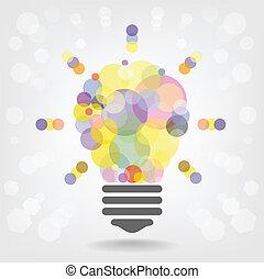 創造的, 電球, 考え, 概念, 背景, デザイン