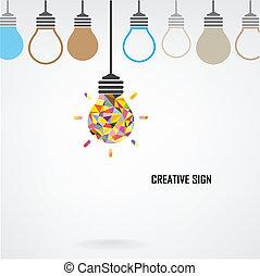 創造的, 電球, 考え, 概念, 背景