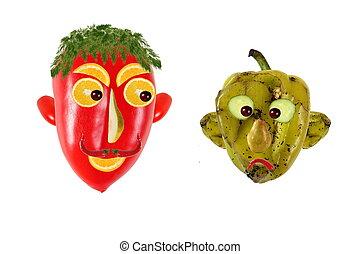 創造的, 食物, concept., ポジティブ, そして, 否定的, 肖像画, 作られた, の, 緑, そして,...