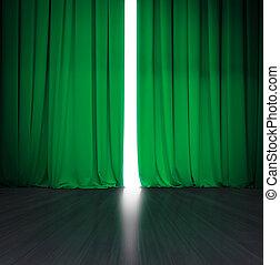 劇場, わずかに, 明るい, 現場, の後ろ, 木, 正式の許可, カーテン, 開いた, ∥あるいは∥, ステージ