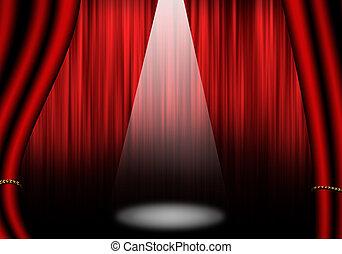 劇場, オブジェクト, 隔離された, ステージ, white., :, curtain., 赤, いっぱいになりなさい