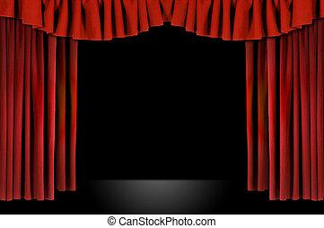 劇場, カーテン, かけられた, horozontal, 赤