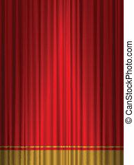 劇場, カーテン, 赤, 金