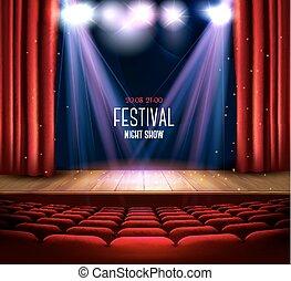 劇場, ショー, 祝祭, バックグラウンド。, vector., 夜, spotlight., カーテン, 赤, ステージ
