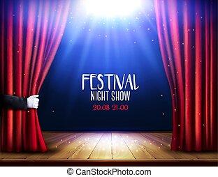 劇場, ショー, 祝祭, 手。, vector., 夜, カーテン, poster., 赤, ステージ