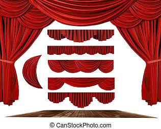 劇場, ステージ, ドレープ, 要素, から作りなさい, あなたの, 所有するため, 背景