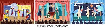 劇場, セット, 俳優, パフォーマンス, ショー, イラスト, 劇, 特徴, 現場, 漫画, ベクトル, 行為, ∥あるいは∥, ステージ, 劇場, プレーしなさい, 演劇