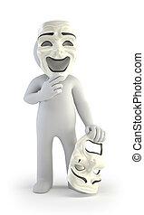 劇場, 人々, -, マスク, 小さい, 3d