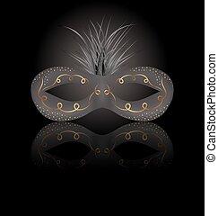 劇場, 反射, カーニバルマスク, 黒い背景, ∥あるいは∥
