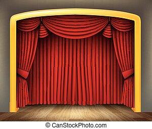 劇場, 古典である, 床, 木, カーテン, 赤
